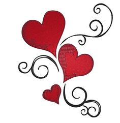 <3 Hearts Valentines. ono Valentines Day. Wendy Schultz via pinned by pinner onto Valentines - Cards / Projects.