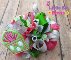 Pink Green and Silver Present Feltie Christmas by LittleBitBows