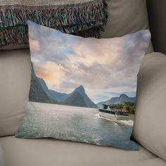 Discover «A Cruise going into Sunset at Milford Sound», Numbered Edition Throw Pillow by Daniela Constantinescu - From $27 - Curioos