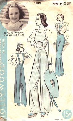 (¯`'•.ೋ  A great vintage Hollywood sewing pattern for overalls (dungarees). #vintage #sewing #patterns