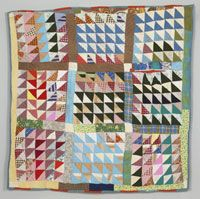 """Triangles in Squares"" quilt, 1970s. Made in Gee's Bend, AL.  From the collections of the Philadelphia Museum of Art."