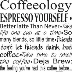 Amazon.com: Kitchen Wall Decals-Coffeeology Espresso Yourself Wall Decals-Coffee Quotes-Coffee Decals- Coffee Decor- Coffee Wall Sayings: Home & Kitchen