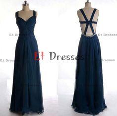Navy blue chiffon cross back straps sleeveless floor-length prom dress ,evening dress ,formal dress