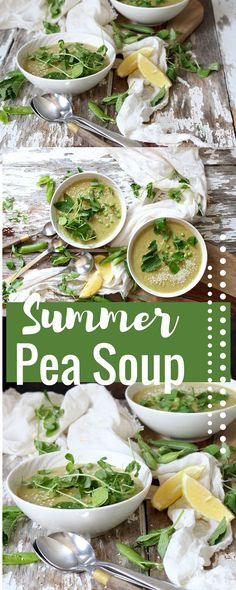 Healthy, vegan soup that uses split peas and fresh peas and pea shoots ...