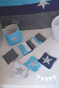 ... 12 lingettes lavables - bleu marine turquoise blanc argenté étoiles