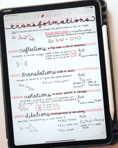 Ipad Notes Discover Transformations Study Guide Reference Sheet by BuyNomials Revision Notes, Math Notes, Study Notes, Pretty Notes, Good Notes, College Notes, College Song, Valley College, City College