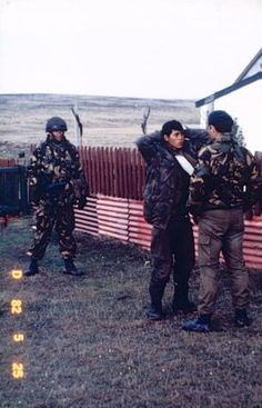 Argentine prisoners being 'prepped' for interrogation, Camilla Creek House, 27 May 1982.