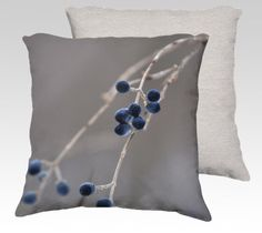 Photo Pillow Cover - Winter Berries - Blue Gray Pillow Cover - 18x18 22x22- Pillow Cover with Zipper by LeslieKayPhoto on Etsy https://www.etsy.com/listing/181160500/photo-pillow-cover-winter-berries-blue