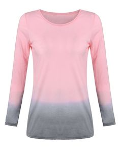 S-6XL Plus Size T-Shirt 2016 NEW Women Lady Long Sleeve O-neck Cotton Tops Tee Casual Loose Gradient Color T shirts Blusas