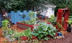 Build a whole garden from repurposed and inexpensive materials! http://ourfairfieldhomeandgarden.com/salvaged-the-32-shutter-challenge-repurposing-shutters-in-the-garden/