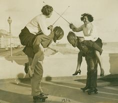 Fencing on Hastings Seafront, East Sussex in 1934