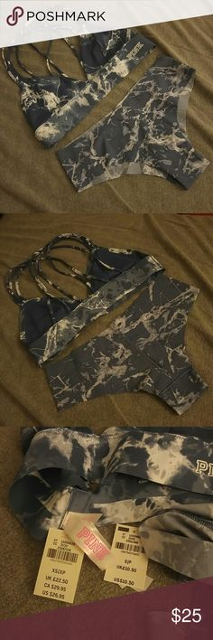 NWT PINK bonded strappy bralette and panty Blue marble pattern bralette and cheekster panty! Brand new with tags, never worn. Bralette is XS, panty is S. Offers welcome! Sorry no trades. PINK Victoria's Secret Intimates & Sleepwear Bras
