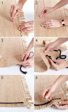 Senior editor Morgan Michener adds pattern and texture to a basic jute rug DIY using twine and yarn. | Photographer: Kim Jeffery