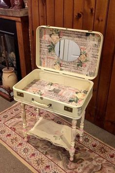 The button only takes you to a picture. Nice revamp of an old suitcase into a side table. ^..^