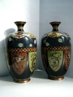 Pair signed Yamada Japanese silver wire cloisonne vases Dragons Phoenix C1900