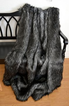 Faux Fur Throw Blanket Gray Wolf Faux Fur by CindyHeitkampDesigns