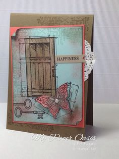 In this World vintage stamp set by Stampin Up. Gorgeous colour combinations from My Paper Oasis