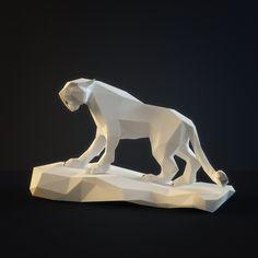 3d sculpture saber toothed tiger model