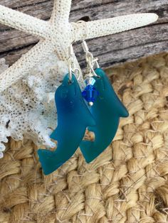 Dolphin Sea Glass Earring Recycled Beach Glass by SeasideJewelry1