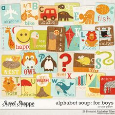 Alphabet Soup Digital Alpha Cards For Boys by Zoe Pearn http://www.sweetshoppedesigns.com/sweetshoppe/product.php?productid=19796 $3.99