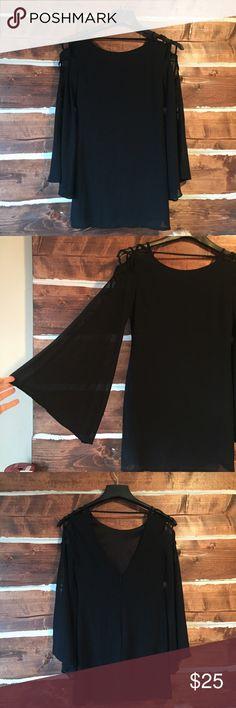 Black chiffon boho sleeve mini dress From altered state Altar'd State Dresses Mini