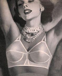 1952 Formfit Bra Ad. Pinup Glam Girl. (Vintage Lingerie Illustration from Vintage Gaze Archives)