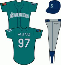 511bbd9baf6 Seattle Mariners Alternate Uniform - (Road) Mariners in silver with blue  and white outlines on a teal uniform with navy piping