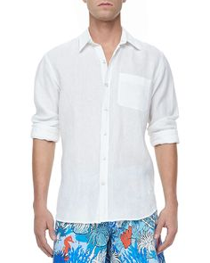 Vilebrequin - Linen Longsleeve Shirt White