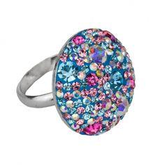 Ring in 925 Sterling Silber rhodiniert mit Kristallsteinen Größe Ø ca. 25mm  Handarbeit!!