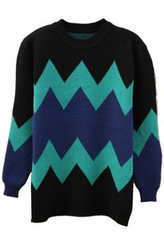 ROMWE | Color Block Wave Blue-green Jumper, The Latest Street Fashion