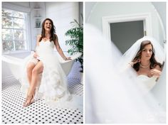 The bride puts on her finishing touches: garter, veil and jewelry. Full Spectrum Photography.