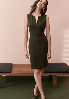 Doubleweave Split Neck Sheath Dress x Ann Taylor