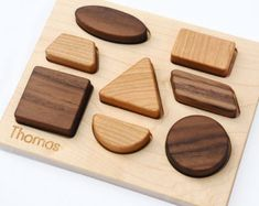Natural Wood Toy Shapes Puzzle // Personalized by manzanitakids