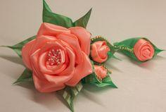Объемный цветок из атласной ленты Мастер-класс/Surround the flower of s...