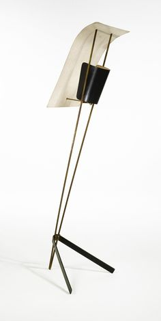 "Pierre Guariche ""KITE"" FLOOR LAMP enameled metal and brass 59 in. cm) high circa 1952 manufactured by Disderot France Pierre Guariche, Pierre Paulin, Lighting Concepts, Lighting Design, Restaurant Lighting, Mid Century Modern Lighting, Lamp Design, Chair Design, Design Design"