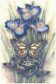 Art - By: Jody Bergsma - Gallery Press :: Paintings :: Insects & Amphibians :: Butterflies :: A New Day Has Come - Prints Butterfly Flowers, Beautiful Butterflies, Colouring Pages, Adult Coloring Pages, Coloring Sheets, Coloring Book, Colorful Pictures, Pretty Pictures, Butterfly Wallpaper