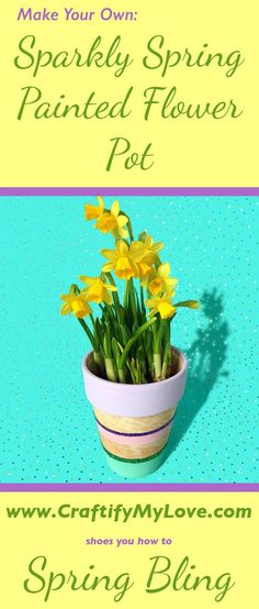 To: Sparkly Spring Painted Flower Pot Transform an old clay pot into an eye catcher for your garden! Learn how to make this super cute DIY spring and sparkly painted flower pot with glitter and pastel colors. Diy Garden, Summer Garden, Garden Pots, Summer Porch, Upcycled Crafts, Diy Flowers, Spring Flowers, Blue Lotus Flower, Diy Upcycling