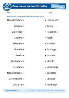 topografie, Nederland, groep 5, provincies, kaarten, topo, groep 6, topo oefenen, topo werkbladen, hoofdsteden, hoofdstad Games For Kids, Diy For Kids, Dutch Language, Home Activities, Creative Teaching, Kids Education, Pre School, Fun Learning, Spelling