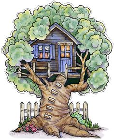 I like this tree house clip art, with the flowers at the base and the picket fence. The clubhouse sign over the door is a welcome bonus! :)