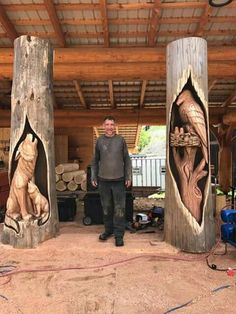 Real art works in wood carving – Schnitzerei Driftwood Sculpture, Sculpture Art, Sculptures, Chainsaw Wood Carving, Wood Carving Art, Tree Carving, Wood Creations, Wooden Art, Woodworking Crafts