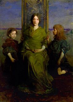 Abbott Handerson Thayer 'Virgin Enthroned' 1891    Abbott Handerson Thayer (1849-1921) American artist, naturalist and teacher.    Thayer used his children—Mary in the center, Gerald and Gladys at her sides—as models for this painting.    oil on canvas  184.3 x 133.2 cm  Smithsonian American Art Museum