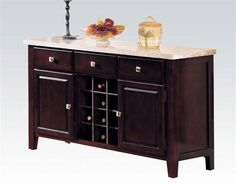 Britney Transitional White Walnut Marble Wood 3 Drawers Server