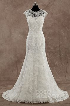 New Arrival Sheath-Column Illusion Dropped Train Lace Ivory Sleeveless Wedding Dress with Appliques LD3509