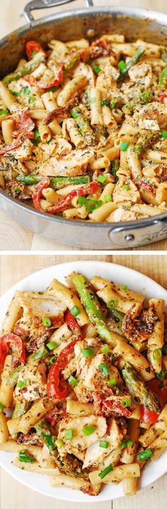 Chicken Alfredo Pasta with Bell Peppers, Asparagus, in a Creamy Sun-Dried Tomato Sauce. The very creamy (and simple) alfredo sauce is made completely from scratch with half and half, freshly grated Parmesan cheese, basil and crushed red pepper!