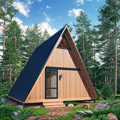 Forest house on Behance Unique House Design, Tiny House Design, A Frame Cabin Plans, Stone Cabin, Triangle House, Portable House, Contemporary Cottage, Tiny House Cabin, Hobby House