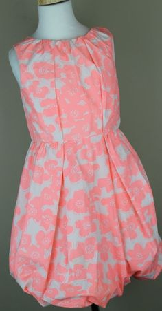 J.Crew Crewcuts $88 Girls Bubble Dress in Bright Floral vivid coral 8 NWT A2213