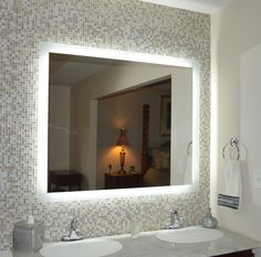 Wall mounted lighted vanity mirror led mam84836 commercial grade 48 side lighted led bathroom vanity mirror 48 x 40 rectangular wall mounted aloadofball Images