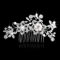 Charm Flower Rhinestone Hair Slide Floral Head Piece Pearl Wedding Hair Comb Clip Crystal Bridal Hairpin Jewelry Hair Accessory
