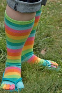 Citrus Stripe Rainbow Toe Socks - Sunny pastel stripes wrap your toes in a tropical rainbow.