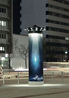 | SciFi Channel | Making use of the environment, i.e. lights that look like UFO. Brighten up viewers' view and make them think how the usual infrastructure can be different.